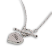 "Perfect for Mother's Day, love her.  Sterling Silver High Polish ""Mom"" Heart on toggle: 6SSN-0584"