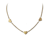 14KT Gold 3 high polish hear necklace, delicate, simple, closet, everyday: 6AN-2187