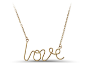 "14K Gold open wire ""Love"" necklace: 6AN-2189"