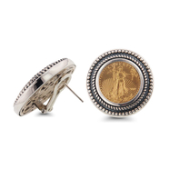 Sterling Silver Clip Earrings with 1/10 oz Gold Eagle Coin: 13SGC-103