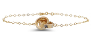 Precious 14KT Gold and Two Toned Intertwined Circles Bracelet : 6A-2135