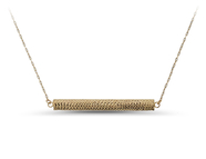 14KT Gold Bar Necklace, trendy, delicate, diamond cut accent: 6AN-2177