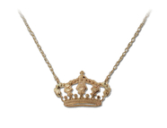 14KT Gold Crown Necklace, dainty, royal, princes: 6AN-2183