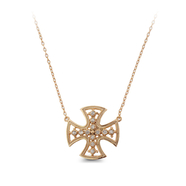 14KT Gold over Sterling Silver cross with White Topaz: 6GPN-0545
