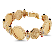1/10oz 22KT Gold American Eagle Coins (3) in 14KT Etruscan Bracelet with Diamond and Garnet Accents