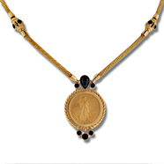 1/10oz 22KT Gold American Eagle Coin in 14KT Yellow Gold Onyx Accented Rope Bezel Necklace with Mesh