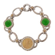 "Sterling Silver and 22KT Gold 1/10 oz Coin and Green Jade Gemstone Bracelet 7 1/4"": 6SGC-090"