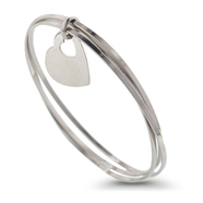Triple the fun with triple the bangle in sterling silver and a small heart charm: 6SS-0523