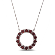 Classic Sterling Silver and Garnet Gemstone Round Necklace: 6SSN-0572