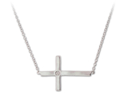Simple sparkle with this Sterling Silver 0.01 CT Diamond Sideways Cross Necklace: 6SSN-0656