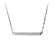 Raise the Bar in this Sterling Silver 0.01 CT White Diamond Necklace: 6SSN-0657