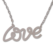 "Wear the Love with this Extra Large Sterling Silver ""Love"" Necklace: 6SSN-0672"