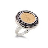 Sterling Silver and 1/10 oz 22KT Gold Eagle Coin Ring: 7SSC-272