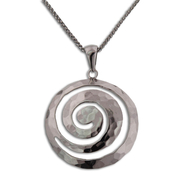 "Funky and Flirty Sterling Silver Swrirl Pendant with 18"" Chain: 9SS-01866"