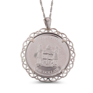 "One Fine Silver Fiji Dollar Taku Turtle Coin in 925 (Sterling Silver) Bezel W/24"" Chain: 9SS-02155"