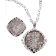 "Sterling Silver 1 oz Eagle Coin Pendant with a 24"" Chain: 9SSC-01731"